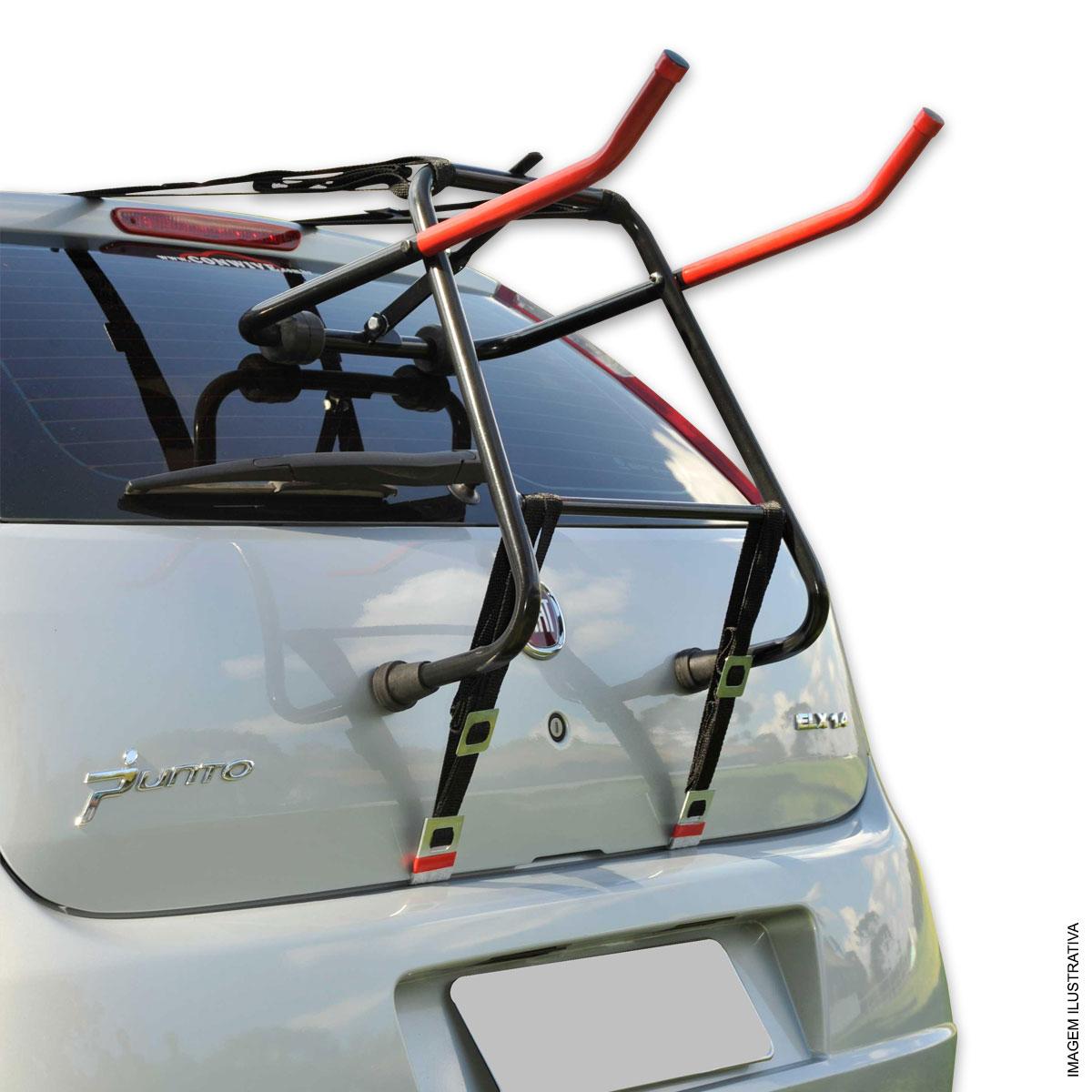 Transbike fixado no porta malas carros hatch e sedan p/ 2 bicicletas