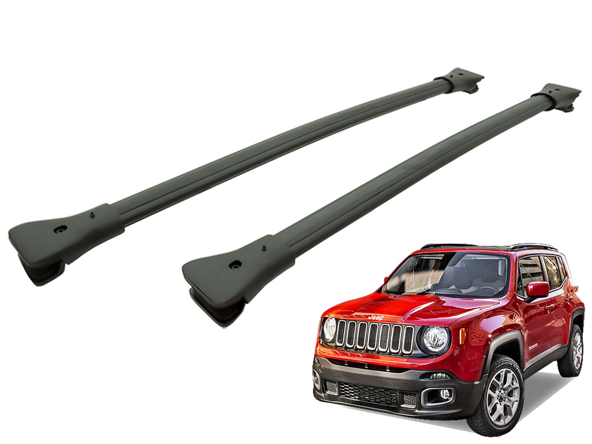 Travessa rack de teto larga preta alum�nio Jeep Renegade 2016 2017