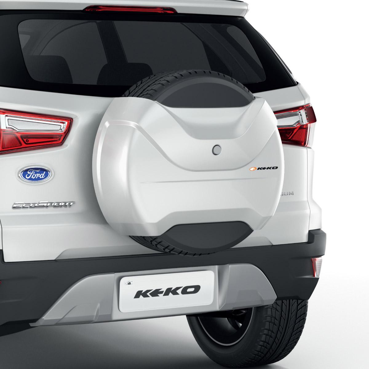 Capa de estepe r�gida Keko Novo Ecosport 2013 a 2017 cor Branco �rtico