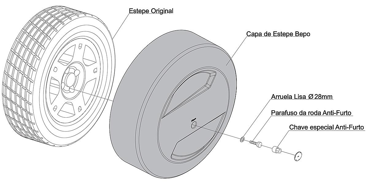 Capa de estepe r�gida Novo Ecosport 2013 e 2014 cor Prata Enseada