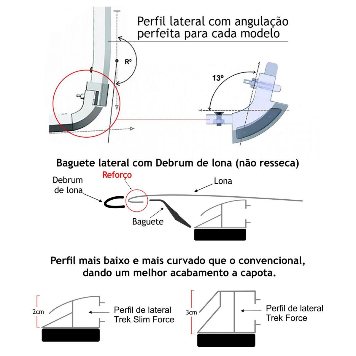 Capota mar�tima slim force Saveiro cabine simples 2010 a 2017 mantendo os ganchos da ca�amba