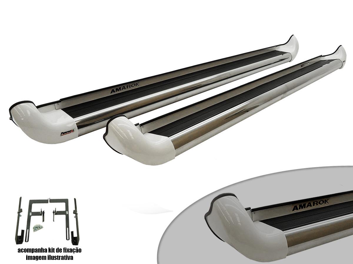Estribo Amarok cabine dupla 2012 a 2017 Highline cor Branco Cristal