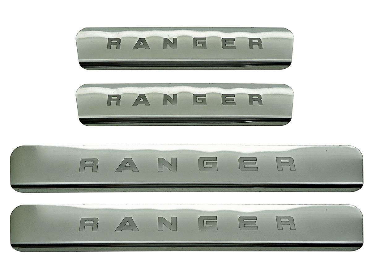 Protetor de soleira aço inox Nova Ranger cabine dupla 2013 a 2017