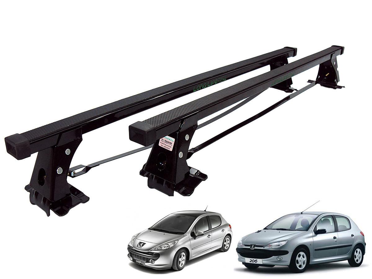 Rack de teto Peugeot 206 1999 a 2009 ou Peugeot 207 2010 a 2015 4 portas Long Life aço