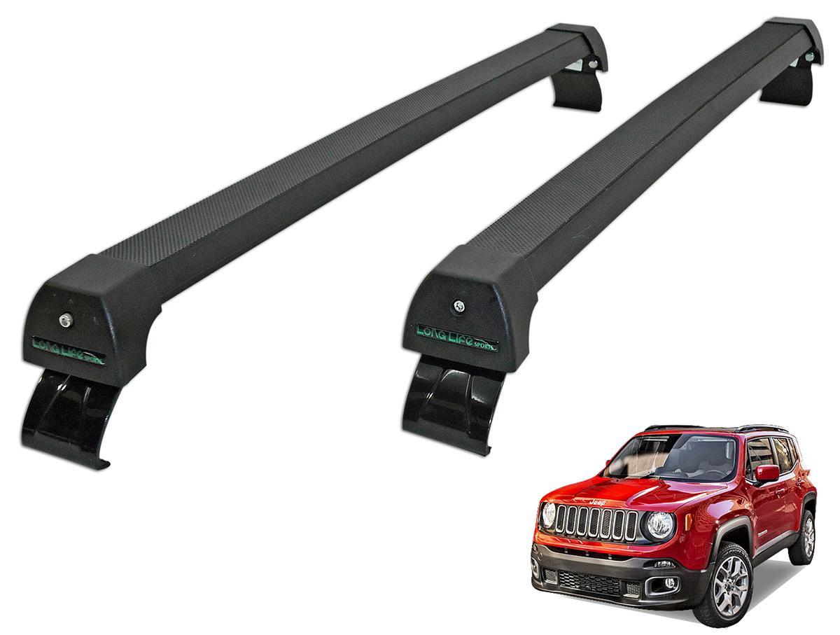 Rack de teto Jeep Renegade 2016 2017 sem longarina Long Life Sports preto