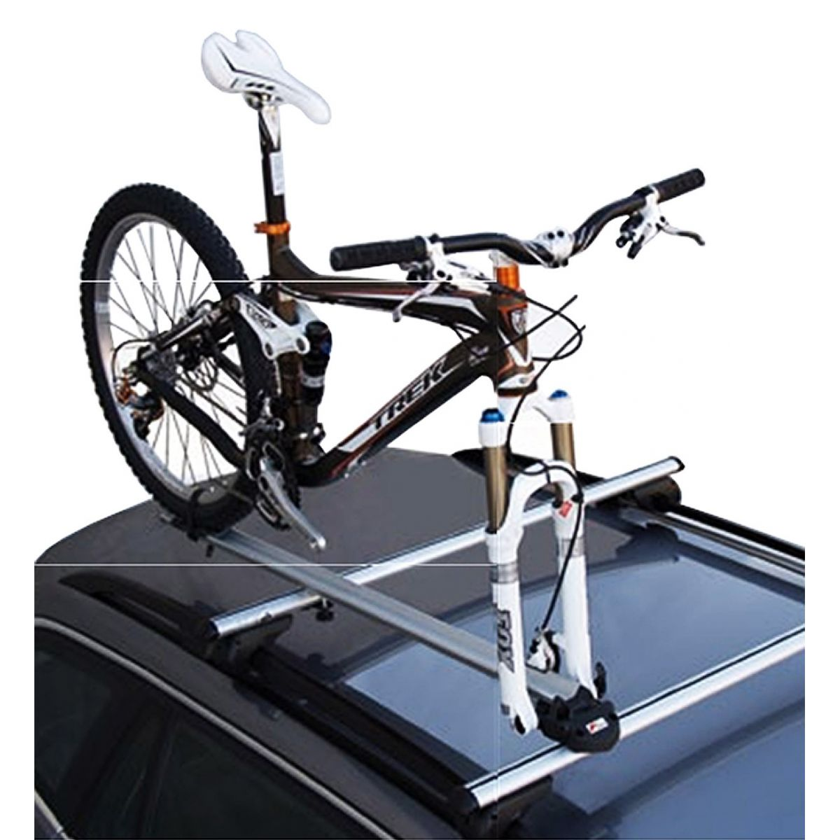 Rack de teto para bicicleta em alum�nio Kiussi Etna tirando a roda dianteira