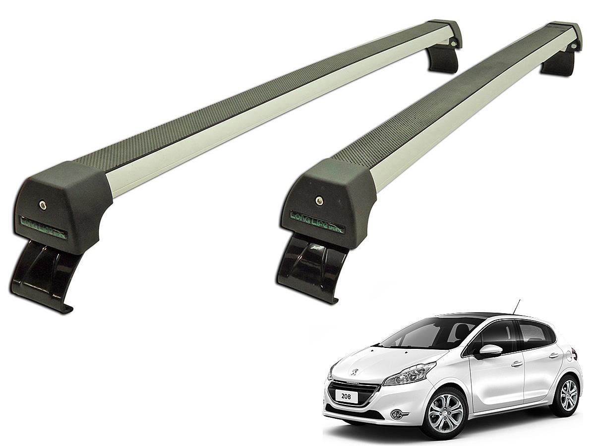 Rack de teto Peugeot 208 2013 a 2017 Long Life Sports anodizado