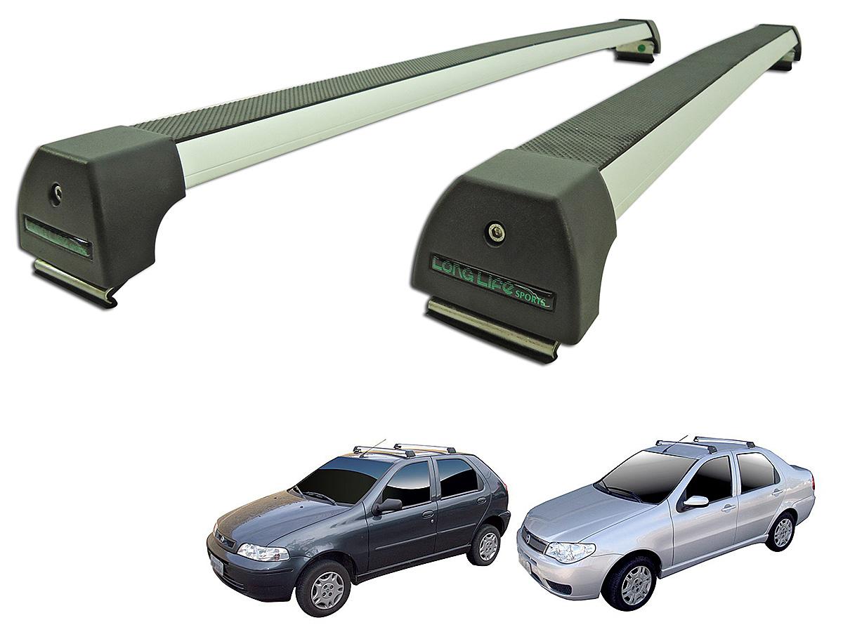 Rack de teto Siena 1999 a 2016 ou Palio 1996 a 2016 4 portas Long Life Sports anodizado