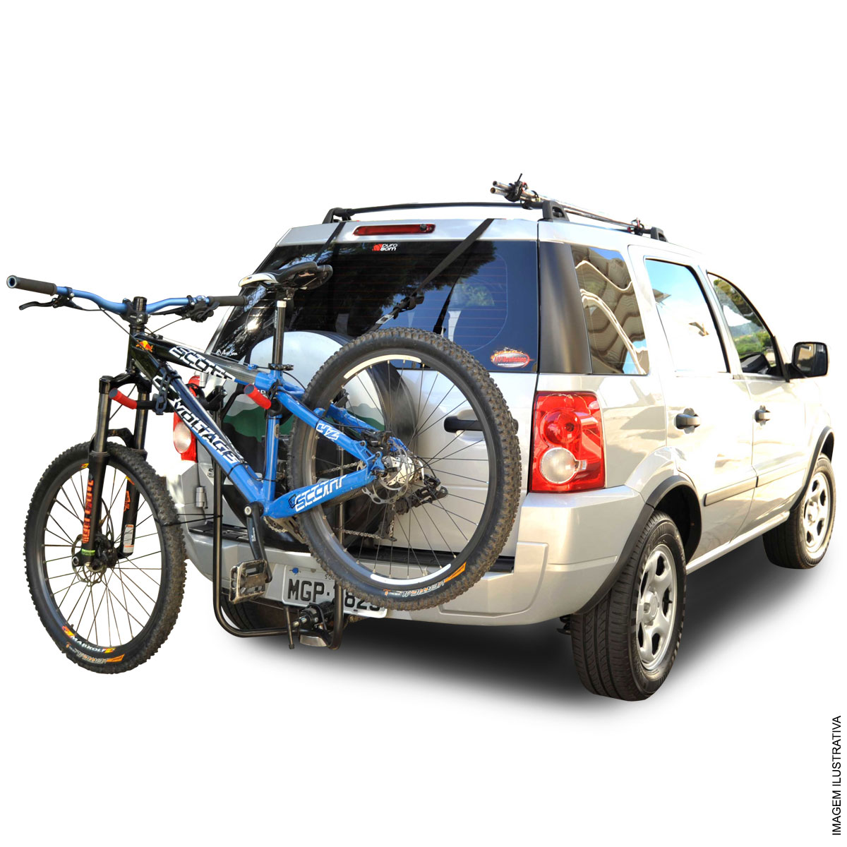 Transbike Ecosport 2003 a 2017 fixado no engate de reboque para 3 bicicletas