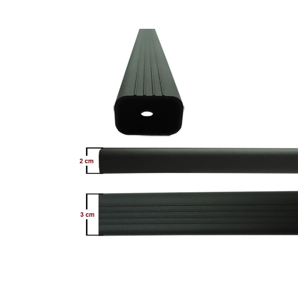 Travessa rack de teto alumínio preta Crossfox 2010 a 2017