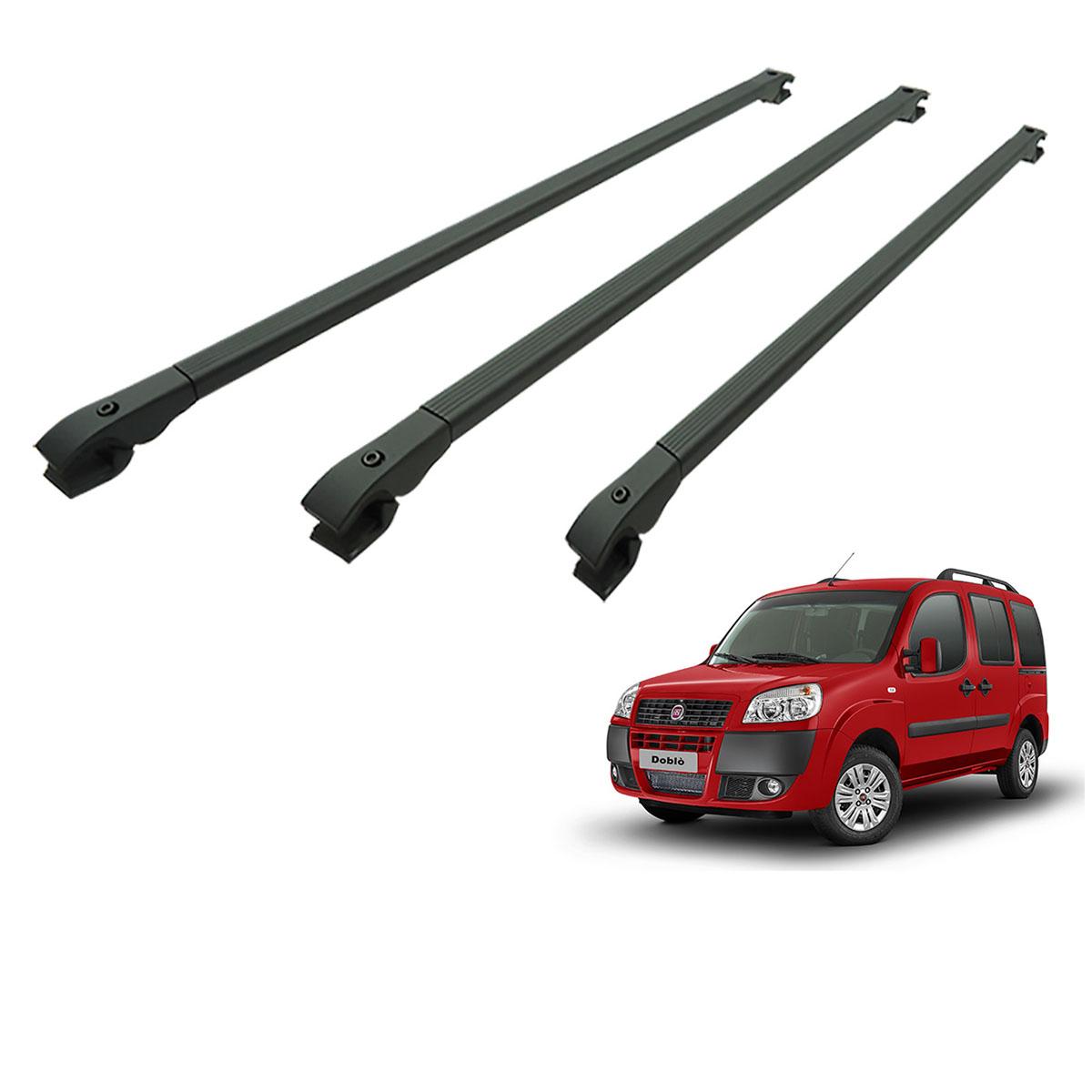 Travessa rack de teto alumínio preta Doblo 2002 a 2017 kit 3 peças