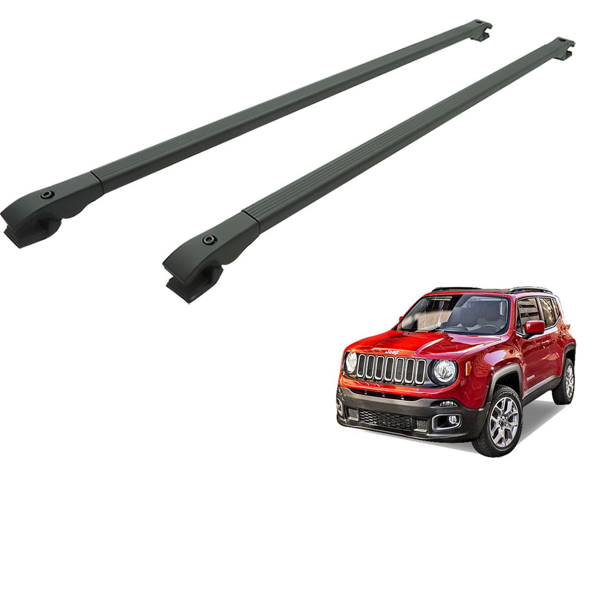 Travessa rack de teto alumínio preta Jeep Renegade 2016 2017