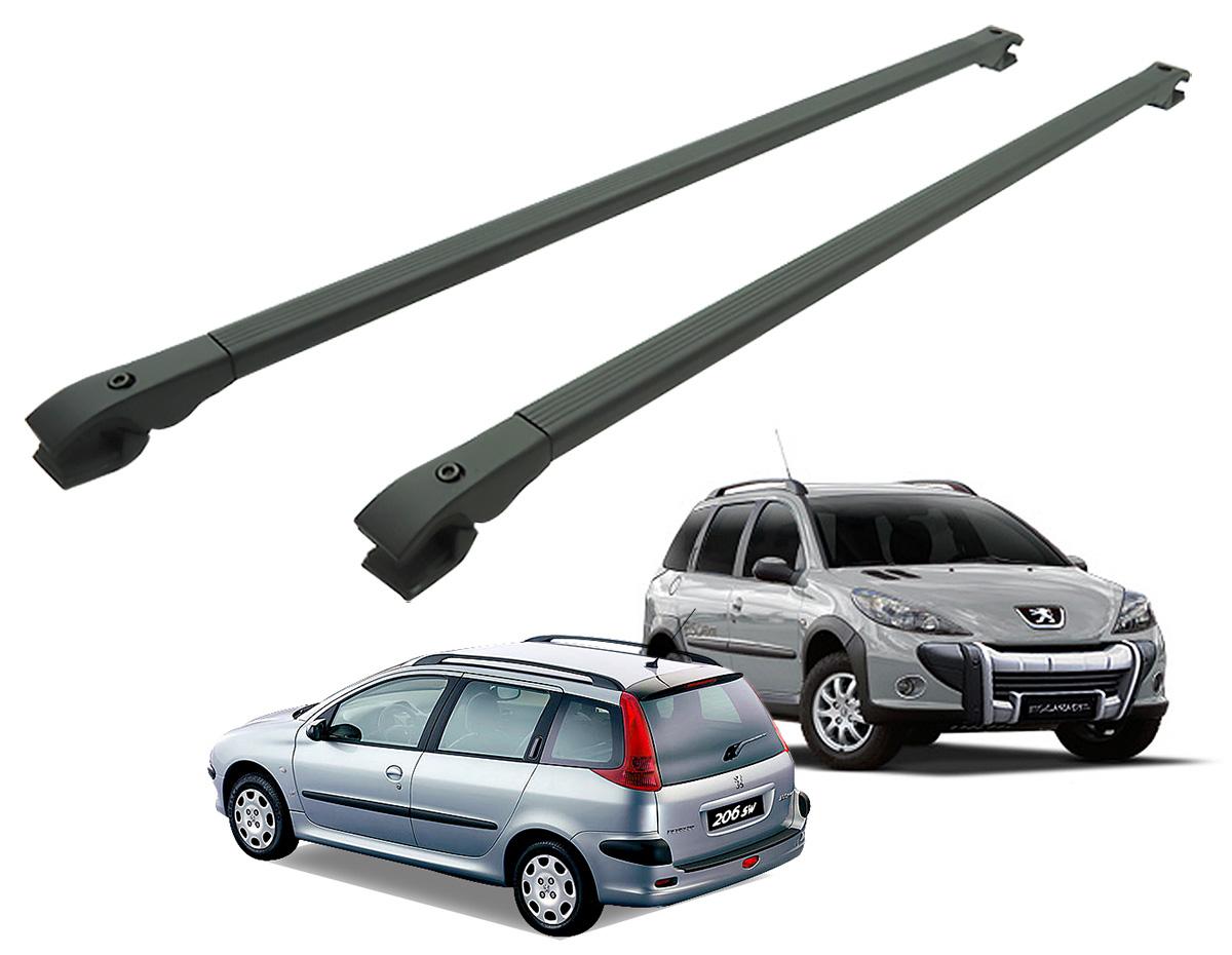 Travessa rack de teto alum�nio preta Peugeot 206 SW, 207 SW ou 207 Escapade