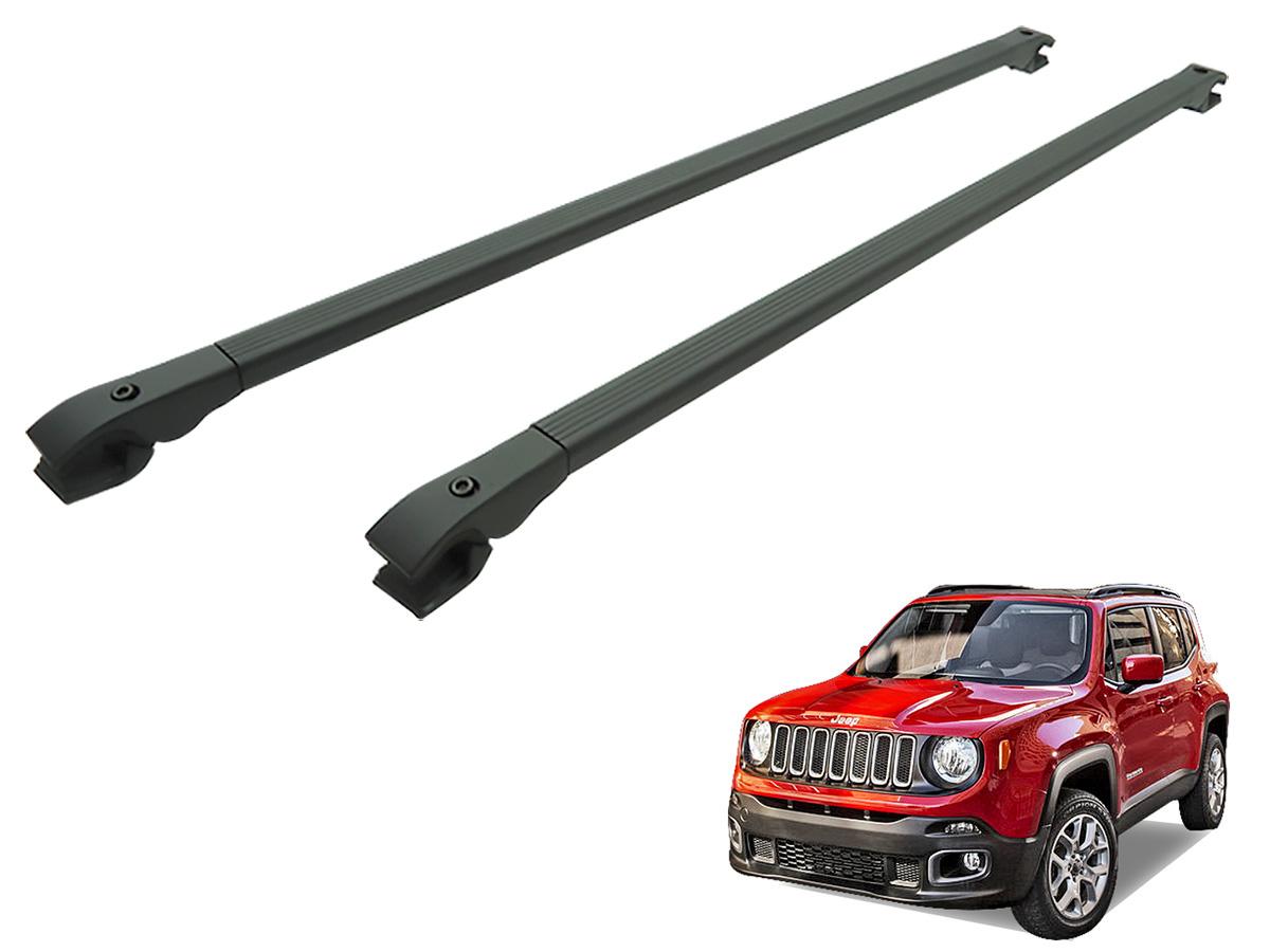 Travessa rack de teto alum�nio preta Jeep Renegade 2016 2017