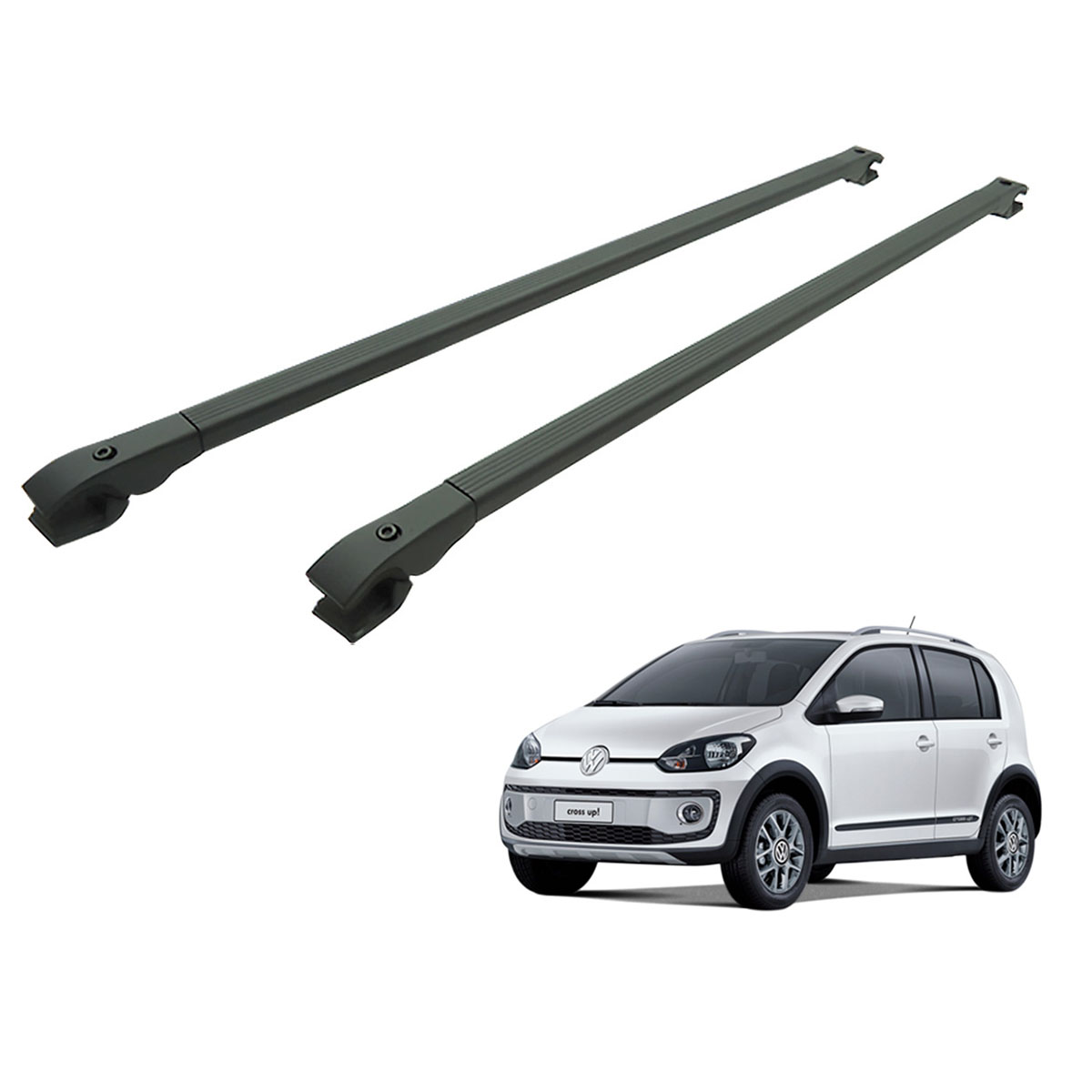 Travessa rack de teto alumínio preta UP! Cross VW up 2014 a 2017