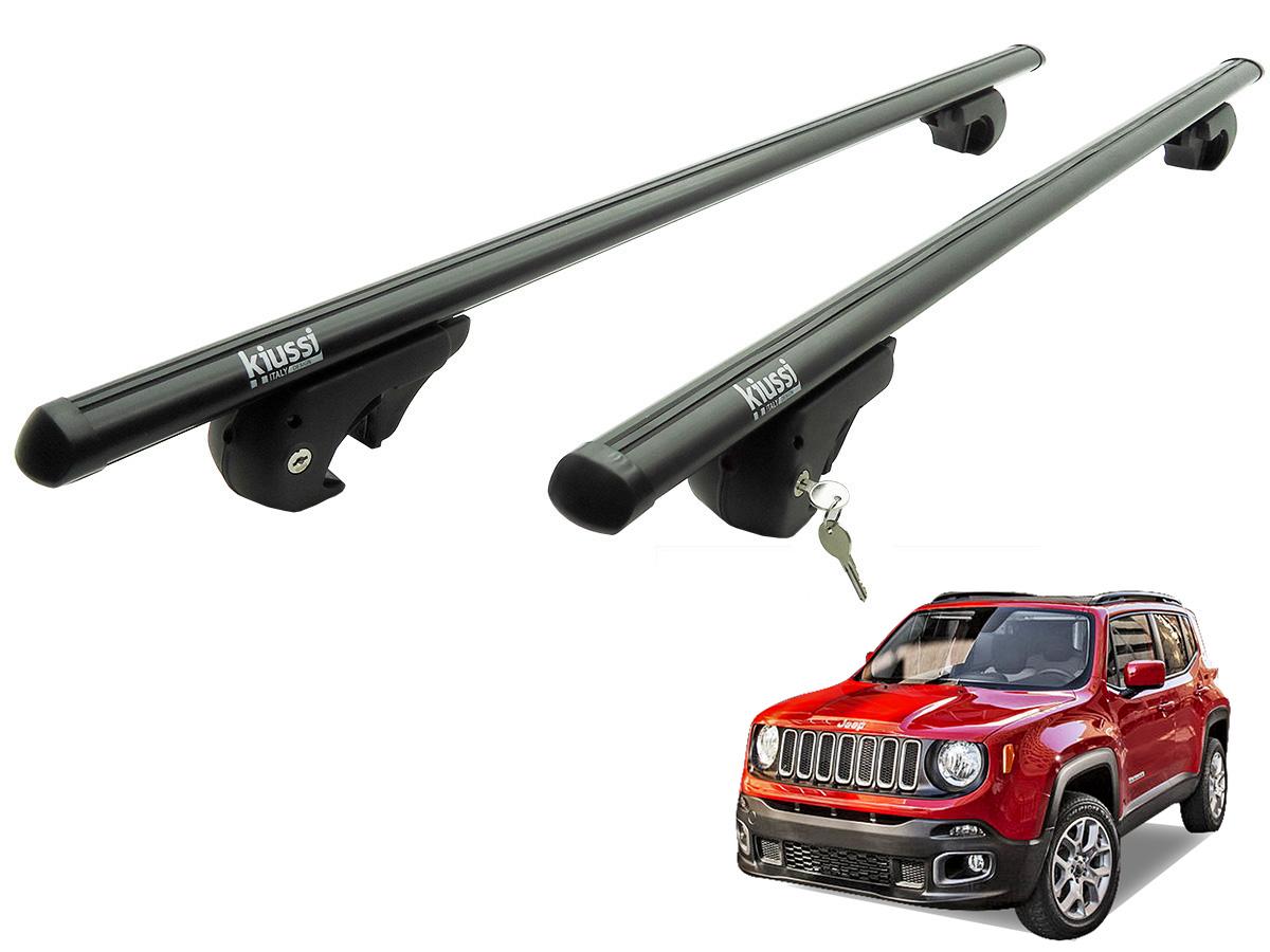 Travessa rack de teto Belluno Kiussi preta com chave Jeep Renegade 2016 2017
