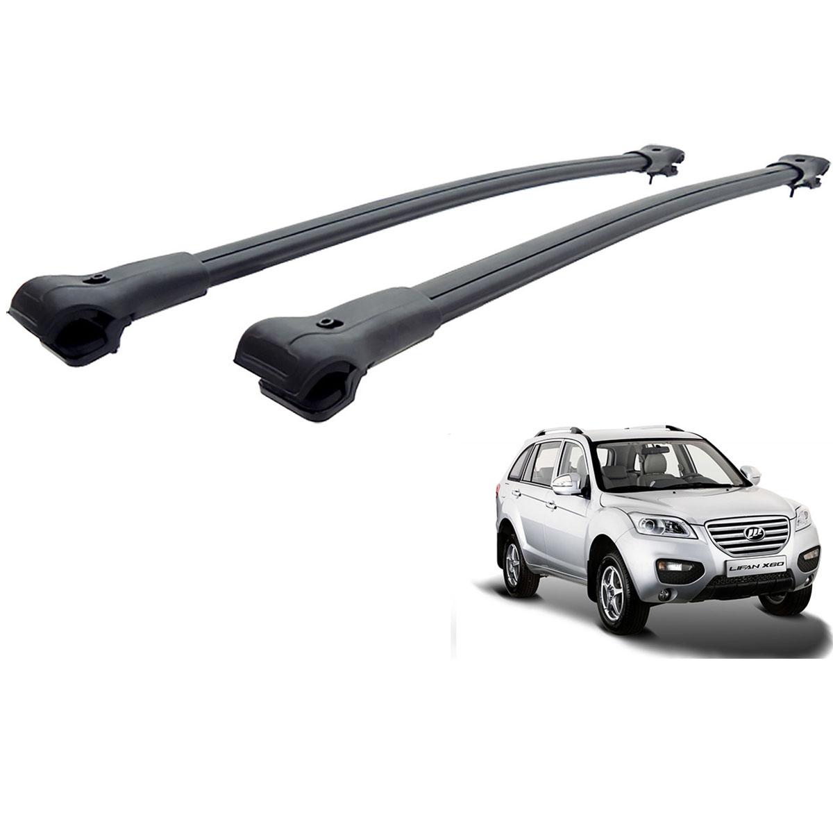 Travessa rack de teto larga preta alumínio Lifan X60 2013 a 2016