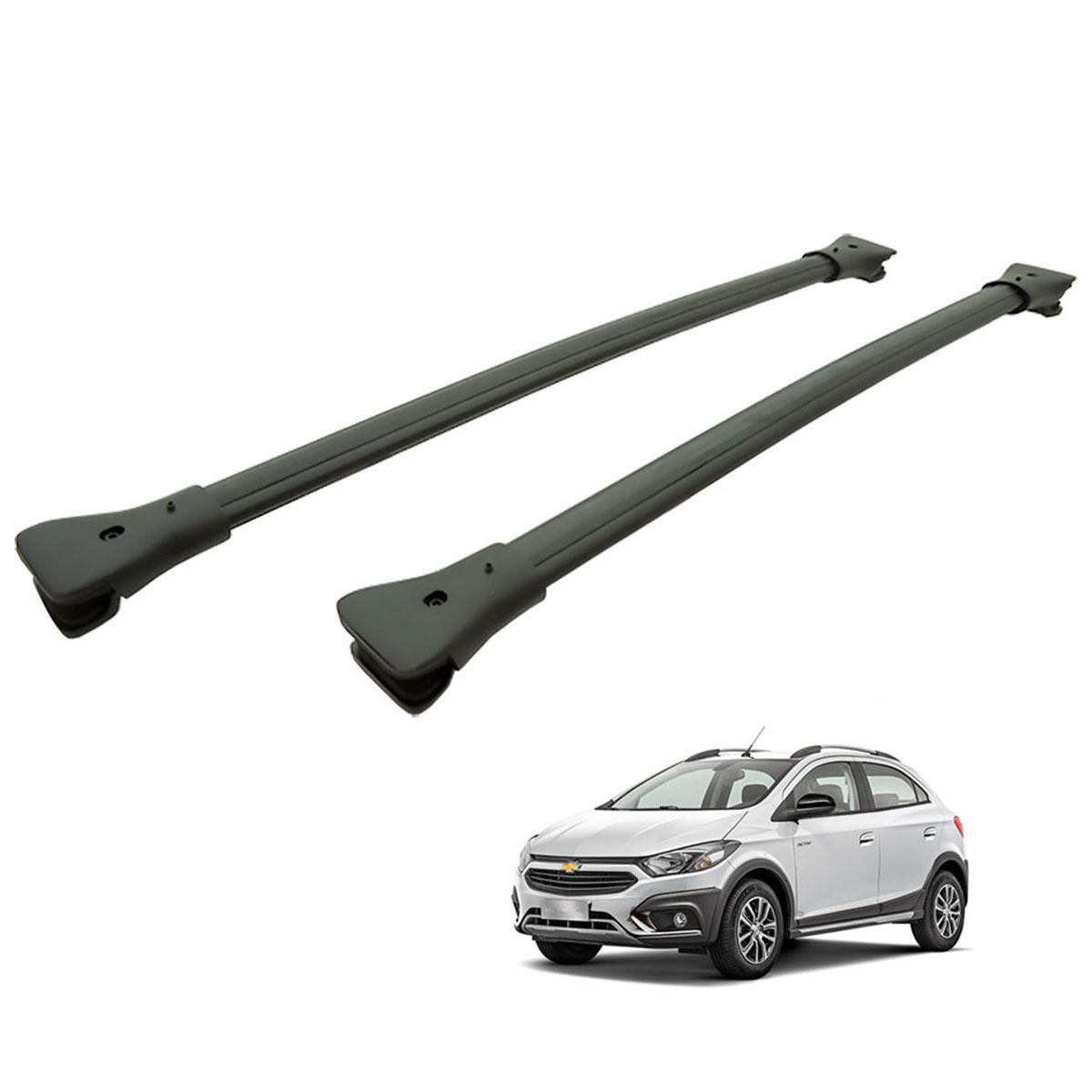 Travessa rack de teto larga preta alumínio Onix Activ 2017