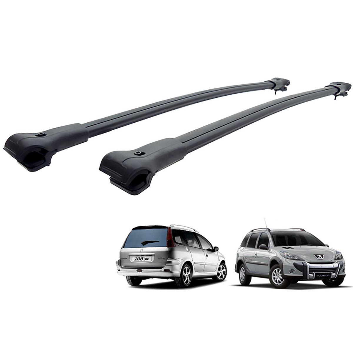 Travessa rack de teto larga preta alumínio Peugeot 206 SW, 207 SW ou 207 Escapade