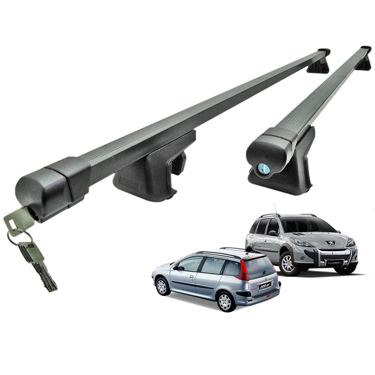Travessa rack de teto preta com chave Peugeot 206 SW, 207 SW ou 307 SW 2005 a 2013