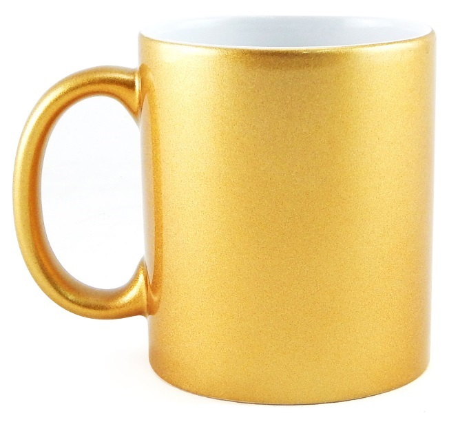 Caneca Metalizada Dourada Resinada Para Sublimação em Cerâmica - Classe A