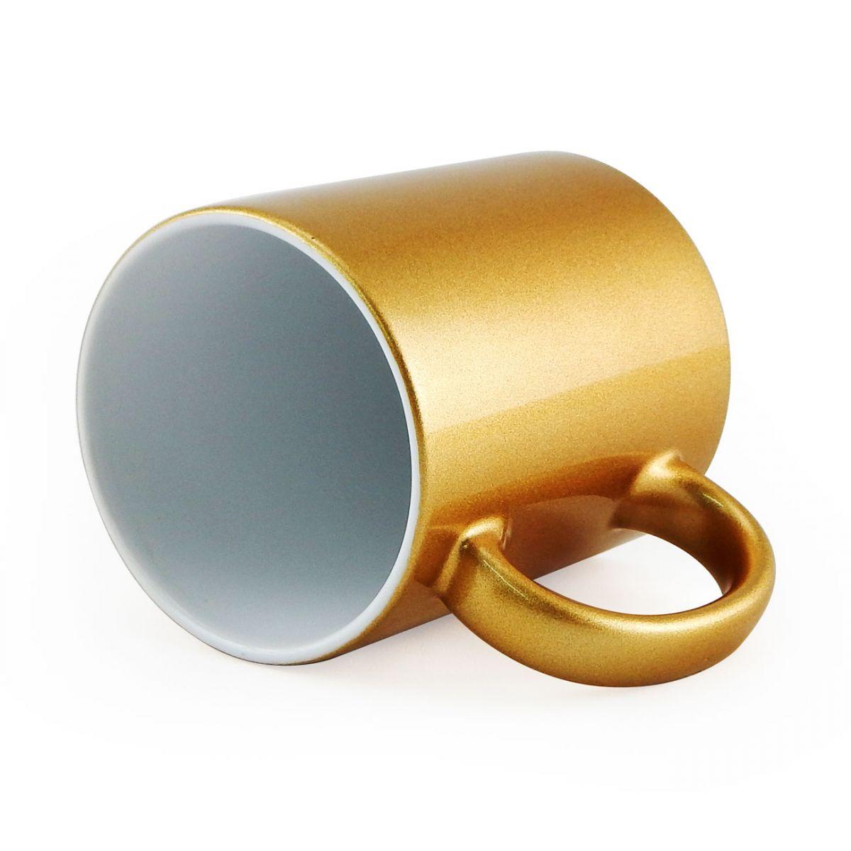 Caneca Metalizada Dourada Resinada Para Sublimação em Cerâmica - Classe A  - ALFANETI COMERCIO DE MIDIAS E SUBLIMAÇÃO LTDA-ME