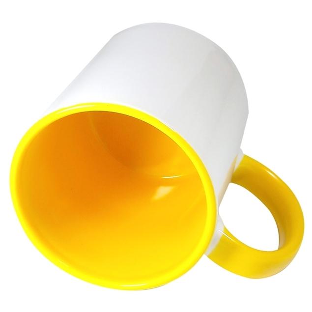 Caneca Alça e Fundo Amarelo Resinada Para Sublimação em Cerâmica - Classe A  - ALFANETI COMERCIO DE MIDIAS E SUBLIMAÇÃO LTDA-ME