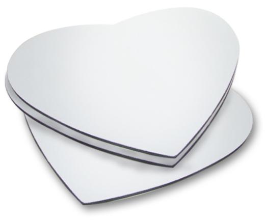 Mouse Pad Branco em Latex Para Sublimação Coração 23,5 x 21,5  - ALFANETI COMERCIO DE MIDIAS E SUBLIMAÇÃO LTDA-ME