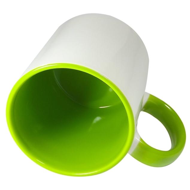 Caneca Alça e Fundo Verde Claro Resinada Para Sublimação em Cerâmica - Classe A