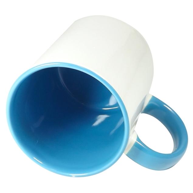 Caneca Alça e Fundo Azul Claro Resinada Para Sublimação em Cerâmica - Classe A  - ALFANETI COMERCIO DE MIDIAS E SUBLIMAÇÃO LTDA-ME