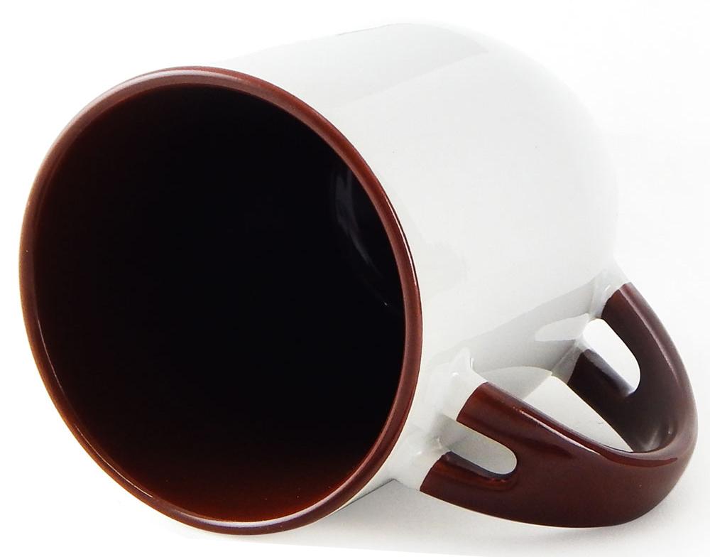 Caneca para Sublimação de Cerâmica Branca com Alça, Interior e Colher - Marrom - Classe A  - ALFANETI COMERCIO DE MIDIAS E SUBLIMAÇÃO LTDA-ME
