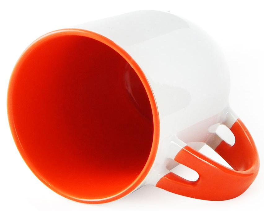 Caneca para Sublimação de Cerâmica Branca com Alça, Interior e Colher - Laranja - Classe A  - ALFANETI COMERCIO DE MIDIAS E SUBLIMAÇÃO LTDA-ME