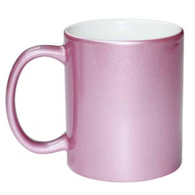 Caneca Metalizada Rosa Resinada Para Sublimação em Cerâmica - Classe A