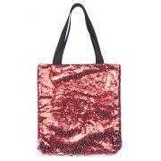 Bolsa com lantejoulas sublimática vermelho/prata 40x40 (MÁGICA MUDA DE COR)