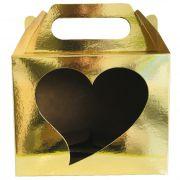 Caixinha dourada para caneca - (Com janela decorativa CORAÇÃO e alça)