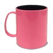 Caneca em Polímero Para Sublimação Rosa Bebe com Interior Preto 325ml