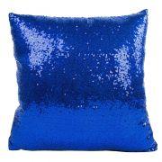 Capa de Almofada com lantejoulas Sublimática azul/branco 40x40 (Mágica muda de cor)