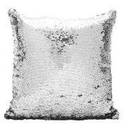 Capa de Almofada com lantejoulas Sublimática  prata/branco 40x40 (Mágica muda de cor)
