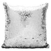 Capa de Almofada com lantejoulas Sublimática Prata e Branco 40x40cm