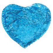Capa de Almofada coração com lantejoulas Sublimática azul/branco 39x44 (Mágica muda de cor)
