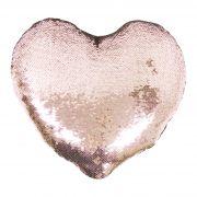 Capa de Almofada coração com lantejoulas Sublimática champanhe 39x44 (Mágica muda de cor)