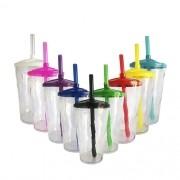 Copo Twister em Acrílico Transparente Tampa e Canudo Colorido - 300ml