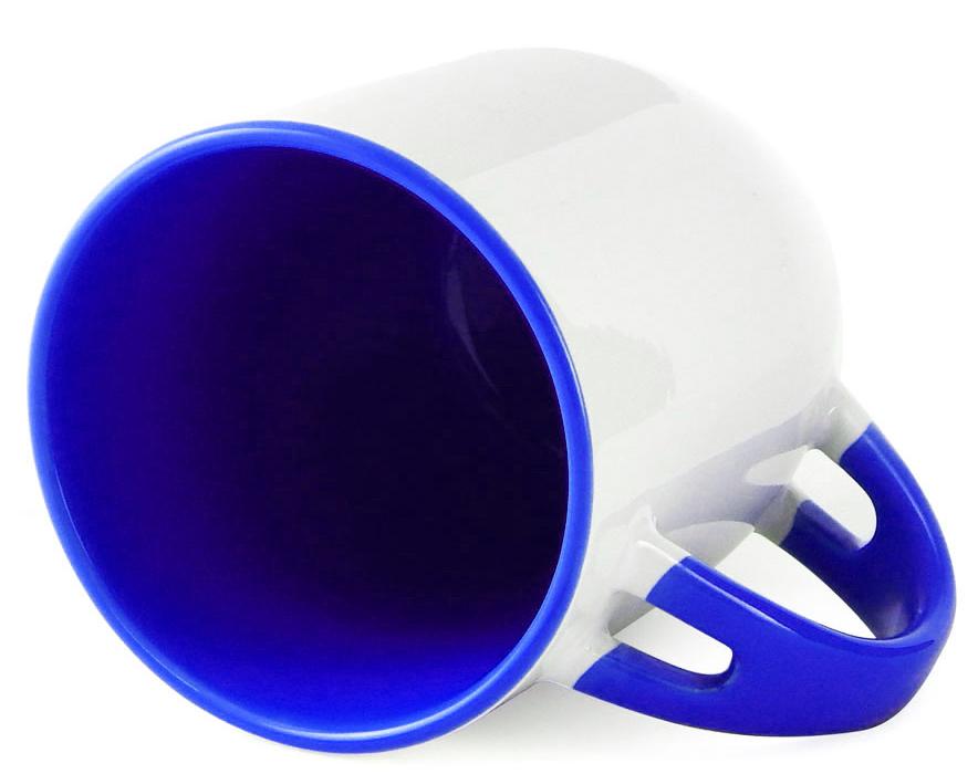 Caneca para Sublimação de Cerâmica Branca com Alça, Interior e Colher - Azul Escuro - Classe A  - ALFANETI COMERCIO DE MIDIAS E SUBLIMAÇÃO LTDA-ME