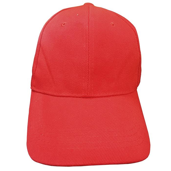 Boné Vermelho em Poliéster para Sublimação com fecho de contato tipo velcro.