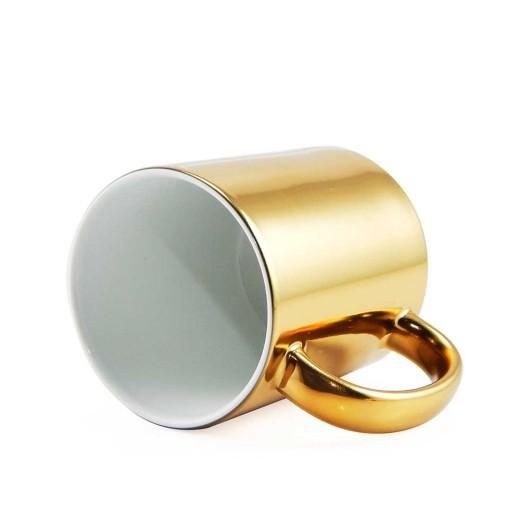 Caneca Cromada Dourada Resinada Para Sublimação em Cerâmica - Classe A