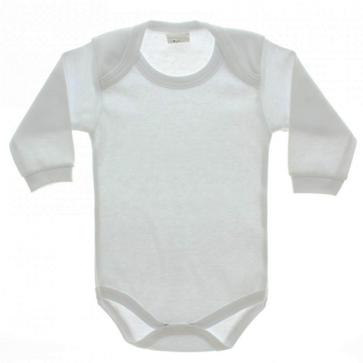 Body Infantil 100% Poliéster  Branca para Sublimação (MANGA LONGA)