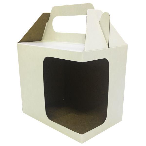 Caixinha branca para caneca - (Com alça e  janela em L)  - ALFANETI COMERCIO DE MIDIAS E SUBLIMAÇÃO LTDA-ME