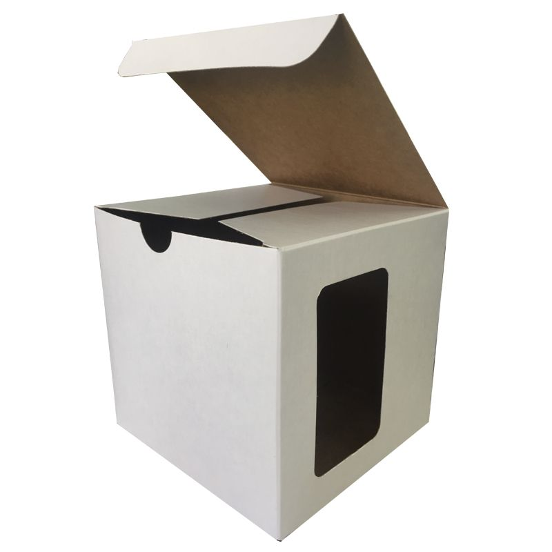 Caixinha branca para caneca - (Sem alça e com janela na lateral)