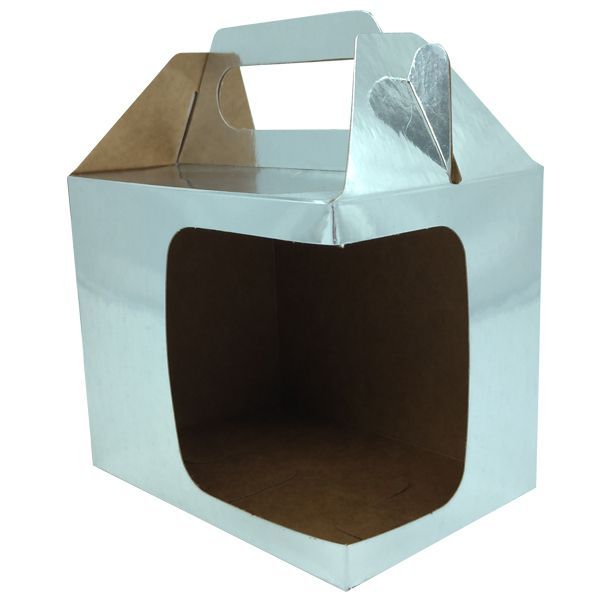 Caixinha cromada para caneca - (Com alça e  janela em L)  - ALFANETI COMERCIO DE MIDIAS E SUBLIMAÇÃO LTDA-ME