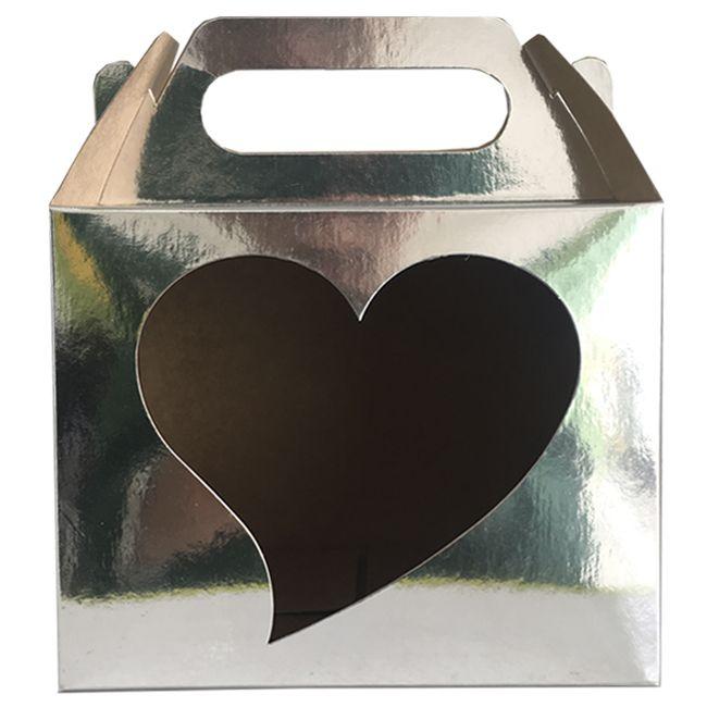 Caixinha Cromada para caneca - (Com janela decorativa CORAÇÃO e alça)